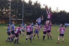 Brian Donoghue rises high in the line-out (Curley Cup Final)